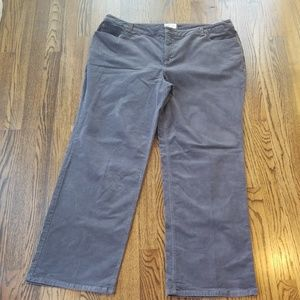 Charter Club Classic Fit Gray Corduroy Pants 20W